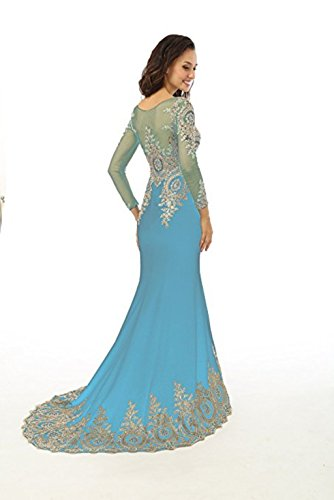 Mieder nge Strass Sheer Himmelblau L Langarm Frauen Perlen Kleid Meerjungfrau Applikationen Boden Abendkleid Abendkleid Spitze King's Love 1RA8ZZ