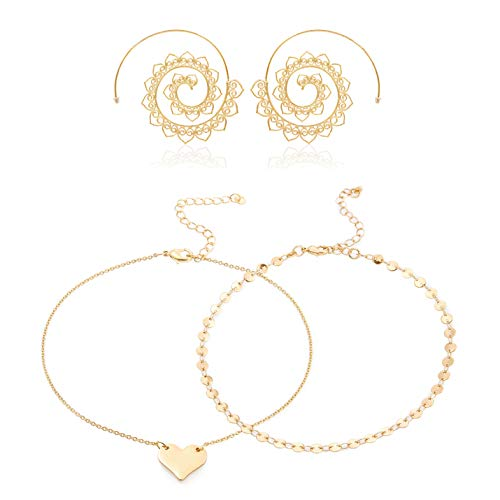 Daycindy Double Anklet Chain Simple Heart Elegant Chain Beach Jewelry for Women