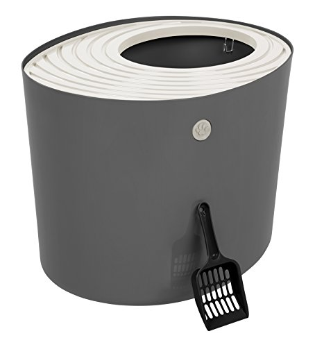 IRIS Top Entry Cat Litter Box with Cat Litter Scoop, Dark Gray & White