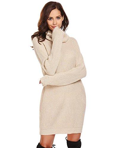 pretty nice 62357 5ced5 zeela Damen Herbst Elegant Pullover Kleid Lang Rollkragenpullover  Strickkleid mit Taschen
