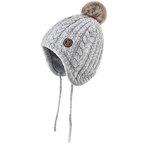Aablexema Baby Beanie Hat with Ears - Infant Toddler Kids Toddler Winter Warm Knitted Earflap Hat Pom Pom Cap for Boys Girls (2-4 Years, Grey)