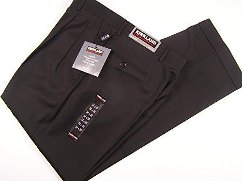 Cuff Dress Pants - Kirkland Signature Men's Wool Pleated Dress Pant with Cuff 34 x 30 Black