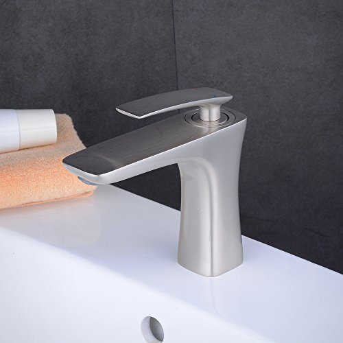 Brushed Nickel Bathroom Faucet, Single Handle Lead-Free Copper Lavatory Laundry Tub Basin Bathroom Tap