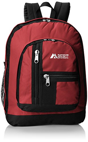 Everest Double Main Compartment Backpack, Burgandy, One Size