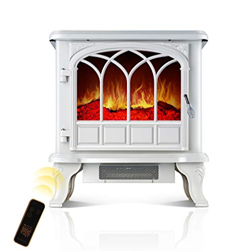 Lxn Leisure Zone Portable Electric Fireplace Stove Freestanding Fireplace Heating Stove Indoor Heater with Log Burner Flame 2000W (White)