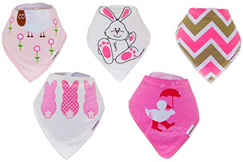 TRUBAMBI Bibs. Best Quality Baby Bandana Bibs. Perfect Bib for Drooling teething babies and toddlers. 5 pcs pack. Baby Girl Gift set. Stylish assorted designs. (Pink)