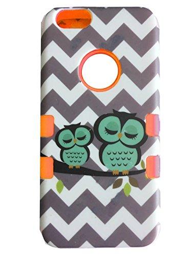 """Iphone 6 (4.7 """") Coque,Lantier 3 en 1 High Impact Armure dur hybride + Soft Robuste Durable Waves Gris Owls Protection Goutte Housse de protection pour Apple Iphone 6 (4.7"""") Orange"""