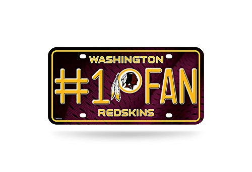 Rico NFL Washington Redskins #1 Fan Metal License Plate Tag, Maroon, 6'' x 12'' by Rico