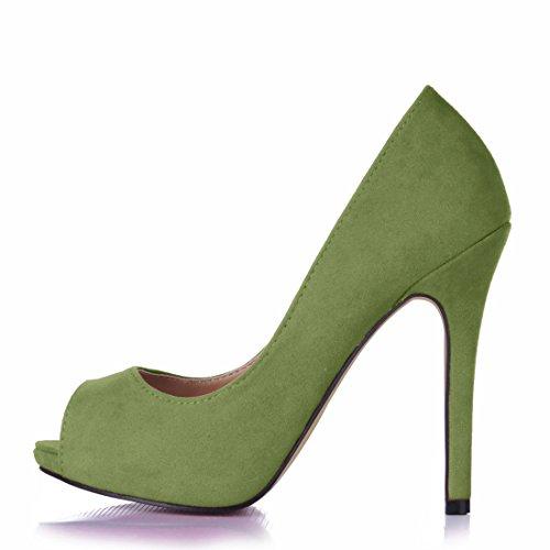 Compensée Bout Cuir 1cm b Fête Vert de CHMILE Escarpins CHAU Synthétique Daim Semelle Sexy Ouvert Stiletto Haut Femmes Aiguille Talon pwHaPY7q