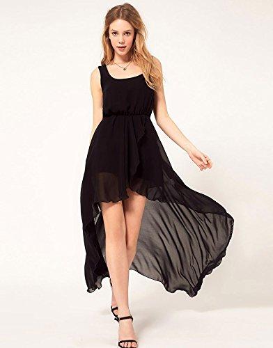 - YI-NOKI Chiffon Women Dress Sexy Irregular Dresses Plus Size Fashion Black Dovetail Mixi Dress Round Neck Vest Beach Long Dress Free XL