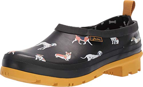 Joules New Women's Pop On Rubber Rain Clog Black Dogs