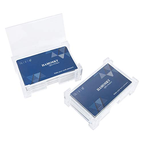 Leather Business Card Stand - Hamosky Acrylic Clear Business Card Holder, Plastic Business Card Stand for Men & Women, Portable Business Name Card Case Box,White,2 Pack
