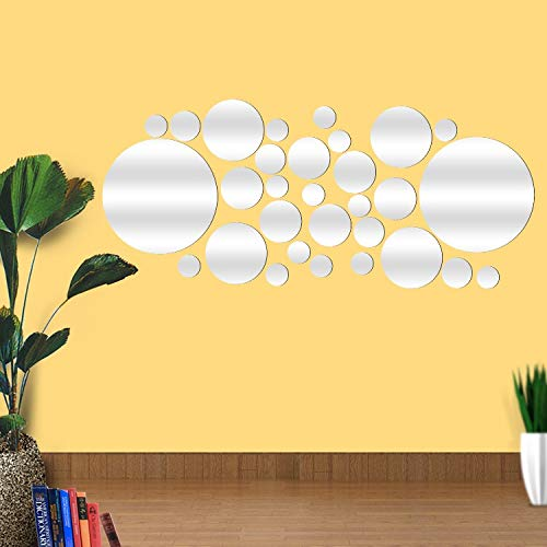 YChoice Well-Made Round Mirror Wall Sticker Living Room Bedroom Decor