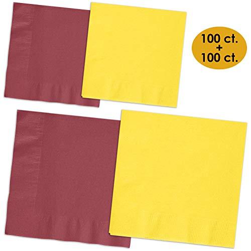 (200 Napkins - Burgundy & Lemon Yellow - 100 Beverage Napkins + 100 Luncheon Napkins, 2-Ply, 50 Per Color Per Type)