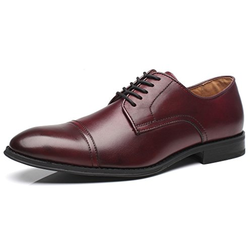 Mens Burgundy Oxfords - La Milano Mens Leather Updated Classic Cap Toe Oxfords Lace Dress Shoes, Burgundy, 9.5 D(M) US