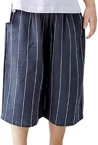 52dde7d350 Lutratocro Girl Thin Elastic Waist Straight Striped Summer Shorts