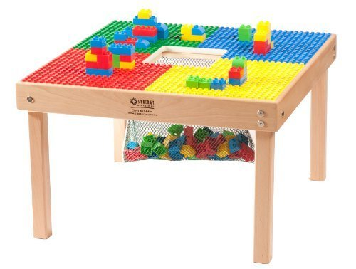 HEAVY DUTY DUPLO TABLE 27''x27''with Built-in Lego Block Storage(patent)-''MADE IN THE USA!''-''PREASSEMBLED'' -Premium Series-Solid Hardwood Legs & Full Side Frames BUILT TO LAST by Fun Builder