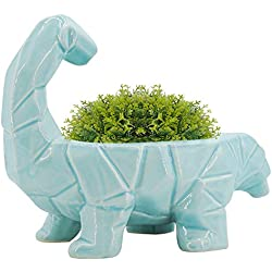GeLive Blue Dinosaur Ceramic Succulent Plant Pot with Draining Hole, Fun Cartoon Animal Planter, Flower Container, Windowsill Box, Home Accent Decor, Decorative Organizer