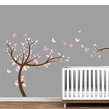vinilo adhesivo de pared infantil rosa rbol x cm