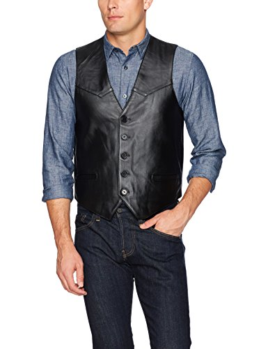 Excelled Men's Premium Soft Lambskin Leather Vest, Black, X-Large