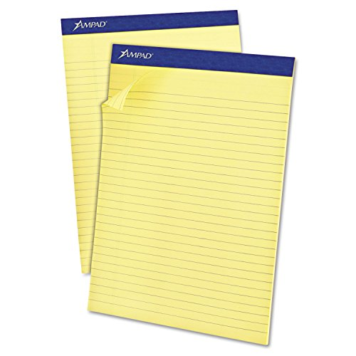 - Ampad 20270 Basic Writing Pad, Slot, Legal Ruled, 8-1/2-Inch x11-3/4-Inch, Canary