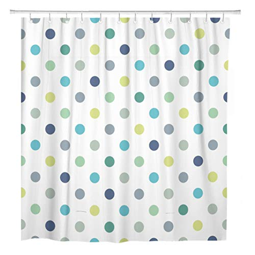 ArtSocket Shower Curtain Cool Mint Blue and Yellow Green Polka Dots Home Bathroom Decor Polyester Fabric Waterproof 72 x 72 Inches Set with Hooks