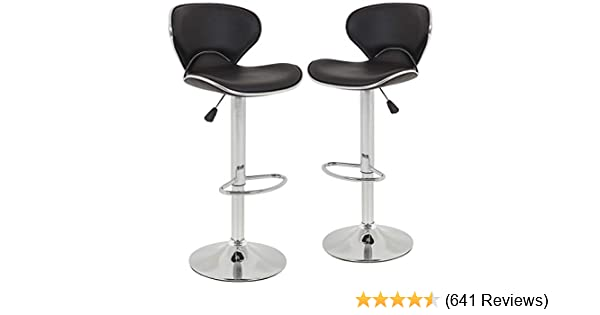 Amazon.com: New Modern Adjustable Synthetic Leather Swivel Bar Stools Chairs Sets  Of 2: Kitchen U0026 Dining