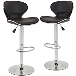 Kitchen New Modern Adjustable Synthetic PU Leather Swivel Bar Stool Stool Sets of 2 Swivel Adjustable Barstools with Back for… modern barstools
