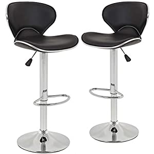 BestOffice Adjustable Synthetic Leather Swivel Bar Stools Chairs-Sets of 2
