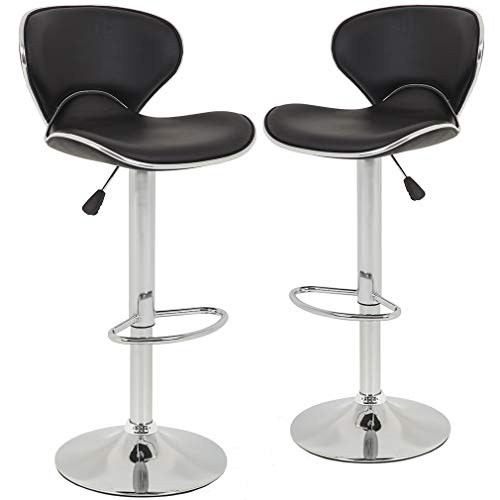 Bar Stools Counter Height Adjustable Bar Chairs With Back Barstools Set of 2 PU Leather Swivel Bar Stool Kitchen Counter Stools Dining Chairs ()