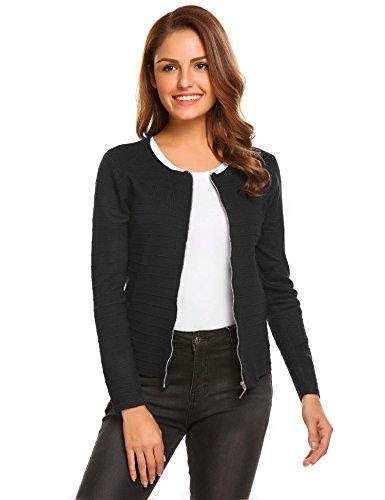 Zeagoo Women's Black Long Sleeve Zip Front Blazer Casual Office Cardigan Jacket S (Sweaters Front Zip)