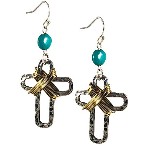 - NoraJae Gems Cross Earrings- Hammered Silver Cross with Gold Wire Detail and Turquoise Bead
