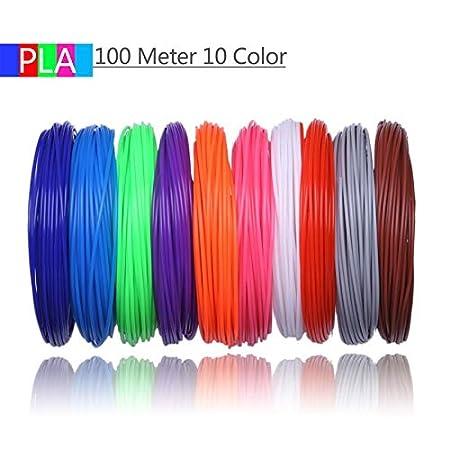 Shi-y-m-3d, 10 Colores 100 Metros Impresora 3D filamento PLA ...