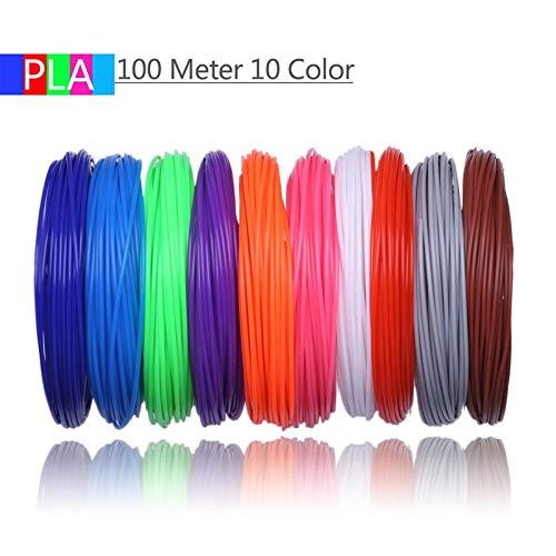 Shi-y-m-3d, 10 Colores 100 Metros Impresora 3D filamento PLA 1.75 ...