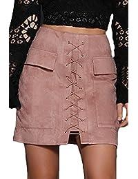 Prograce Women's Vintage Lace Up High Waist Bodycon Faux...