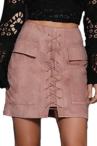 Prograce Women Stylish Lace Up Faux Suede Bodycon Tight Winter Mini Skirt Pink S ()