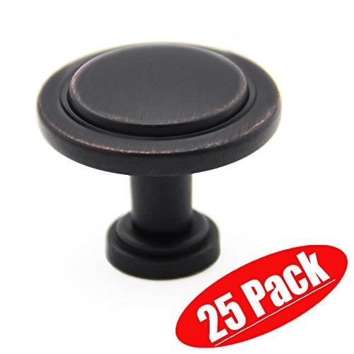Antique Brass Black Oil Rubbed Bronze Furniture Kitchen Cabinet Door Hardware Round Knobs, 25-Pack