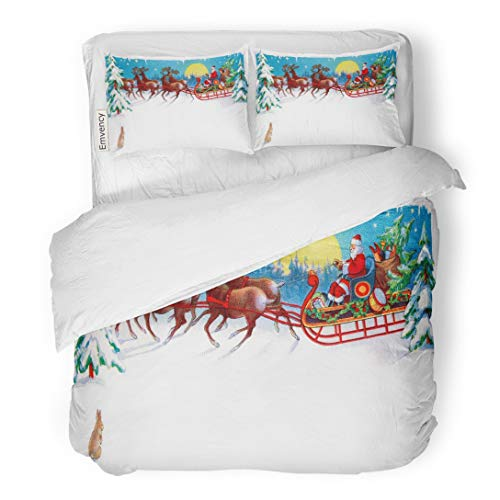 Tarolo Bedding Duvet Cover Set Red Vintage Rabbit Watches Santa Reindeer and Sleigh on Christmas Eve Circa 1915 Area for Claus 3 Piece King 104