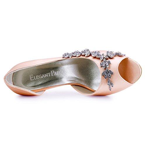 Heel Prom Blush ElegantPark Pumps Peep Women Shoes Satin Toe Wedding Evening High Rhinestones wwqzY7C