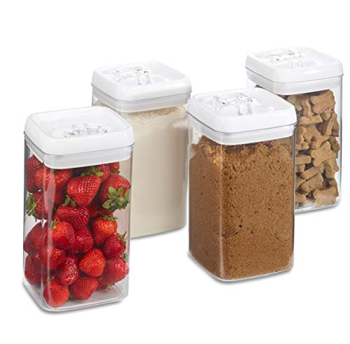 (1790 Airtight Plastic Container Set - 4 PK - 0.5 Gal/2.3 L - Flour, Brown Sugar, Fruit, Cereal, Dog Treats - Leakproof, BPA Free, Dishwasher Safe, Easy Lid - Food Storage, Pasta, Spaghetti, Snacks)