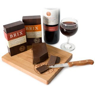 Brix Chocolate 2 Bars 8oz With Cutting Board and Knife Gift Set