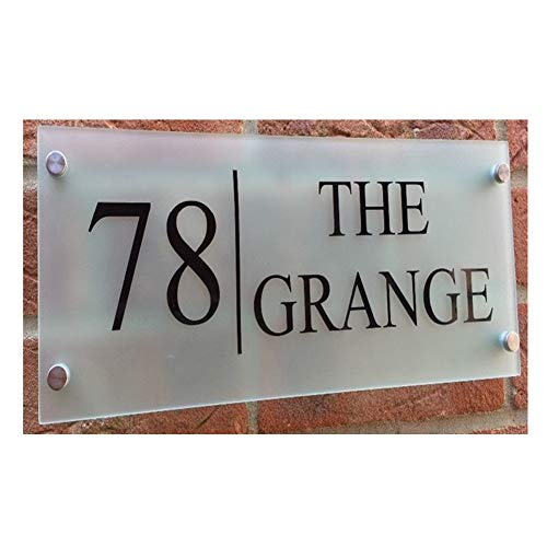 Custom-Made Modern House/Hotel Street Sign Plaque Door Number Full Frosted Glass Effect Acrylic Name (Large(300/140mm))