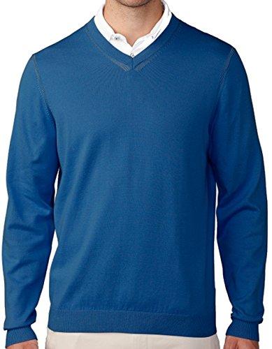 (Ashworth Men's Cotton Plaited Jersey V-Neck Sweater, Coastal Blue, Large)