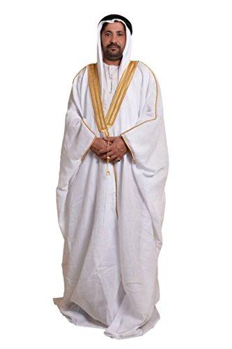 Al Aseel Amazing Mens Islamic Arabian Cloak Bisht Thobe Eid (White) ()