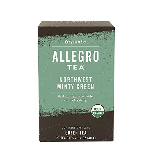 Minty Green - Allegro Tea, Organic Northwest Minty Green Tea Bags, 20 ct