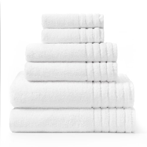 Cotton Craft - Super Zero Twist 6 Piece Towel Set - White - 7 Star Hotel Collection Beyond Luxury Softer Than A Cloud - Contains 2 Oversized Bath Towels 30x54, 2 Hand Towels 16x30, 2 Wash Cloths 13x13 (Set Towel Bath White)