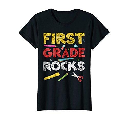 Womens First Grade Rocks TShirt 1st Grade Back To School Gift Large Black
