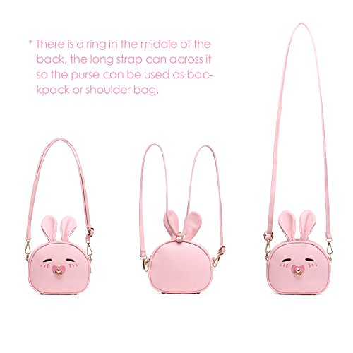 CMK Trendy Kids My First Purse for Toddler Kids Girls Cute Shoulder Bag Messenger Bags with Bunny Ear Novelty Birthday Gift (82011_Pink) by CMK Trendy Kids (Image #4)