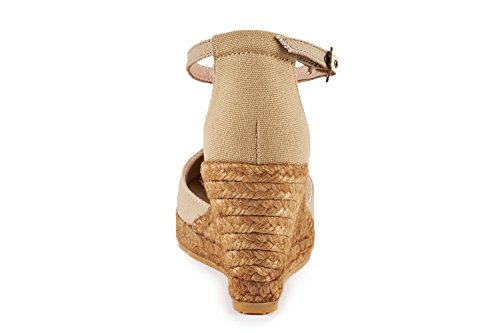 chiusa Espadrillas Spagna comode Viscata tacco punta 62 alla Estartit nbsp;cm eleganti Beige tela cinturino in 7 caviglia in made 4v1SqW