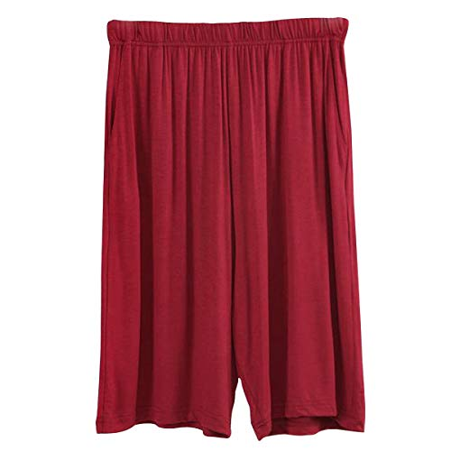 Amy Coulee Men's Comfortable Cotton Modal Pockets Sleep & Lounge Pajama Shorts (XL, Dark Red)